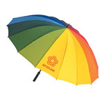 Wood Handle Rainbow Umbrella