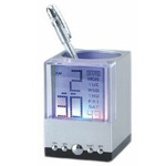 LED Clock Crystal Pen Holder