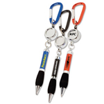 Soft Grip Metal Pen with Carabiner