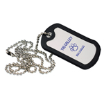 Anodized Aluminum Dog Tag with Black Edge Trim