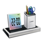 Colorful LED Desk Clock Pen Holder